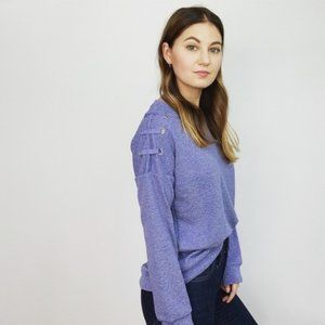 Anthropologie Blue Lace-Up Sweater